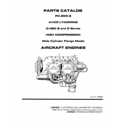 Lycoming Parts Catalog PC-203-2 O-320 B & D Series