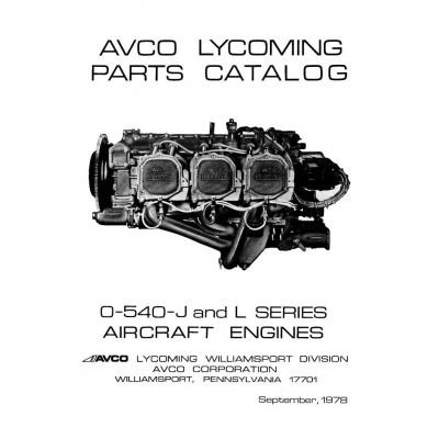 Lycoming Parts Catalog PC-415 O-540 J & L Series 1978