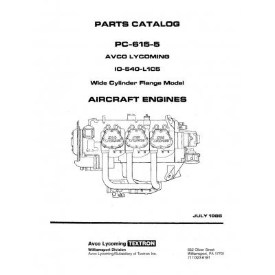 Lycoming Parts Catalog PC-615-5 IO-540-L1C5