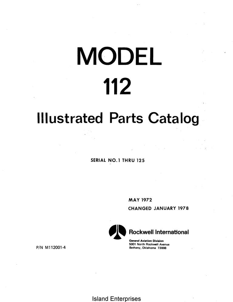 Aero Commander 112 Parts Catalog Manual
