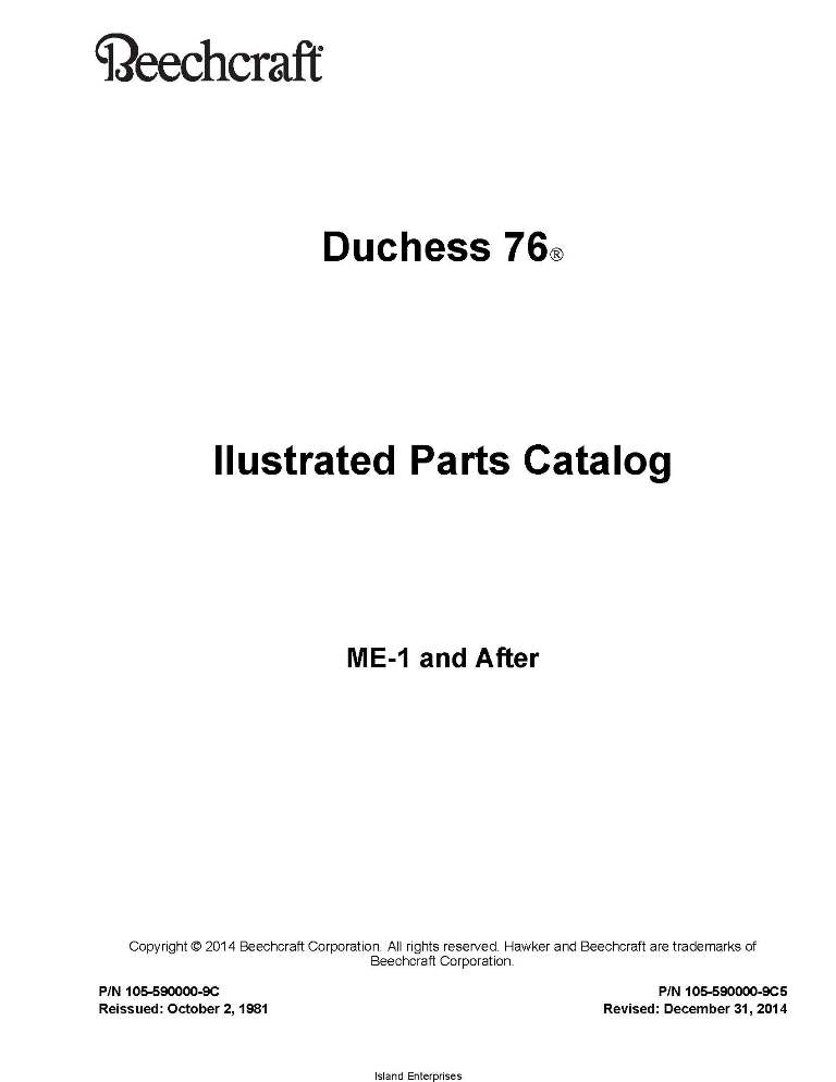 Beechcraft Duchess 76 Ilustrated Parts Catalog 105-590000-9C5