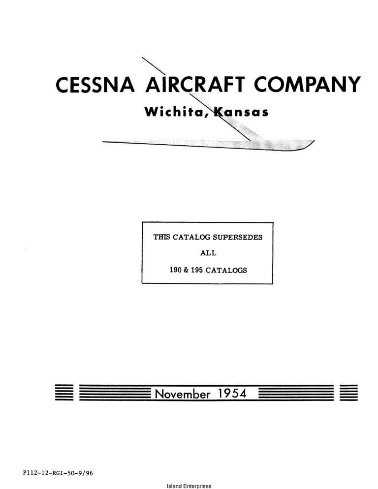 Cessna Model 190-195 Illustrated Parts Catalog (1948 Thru
