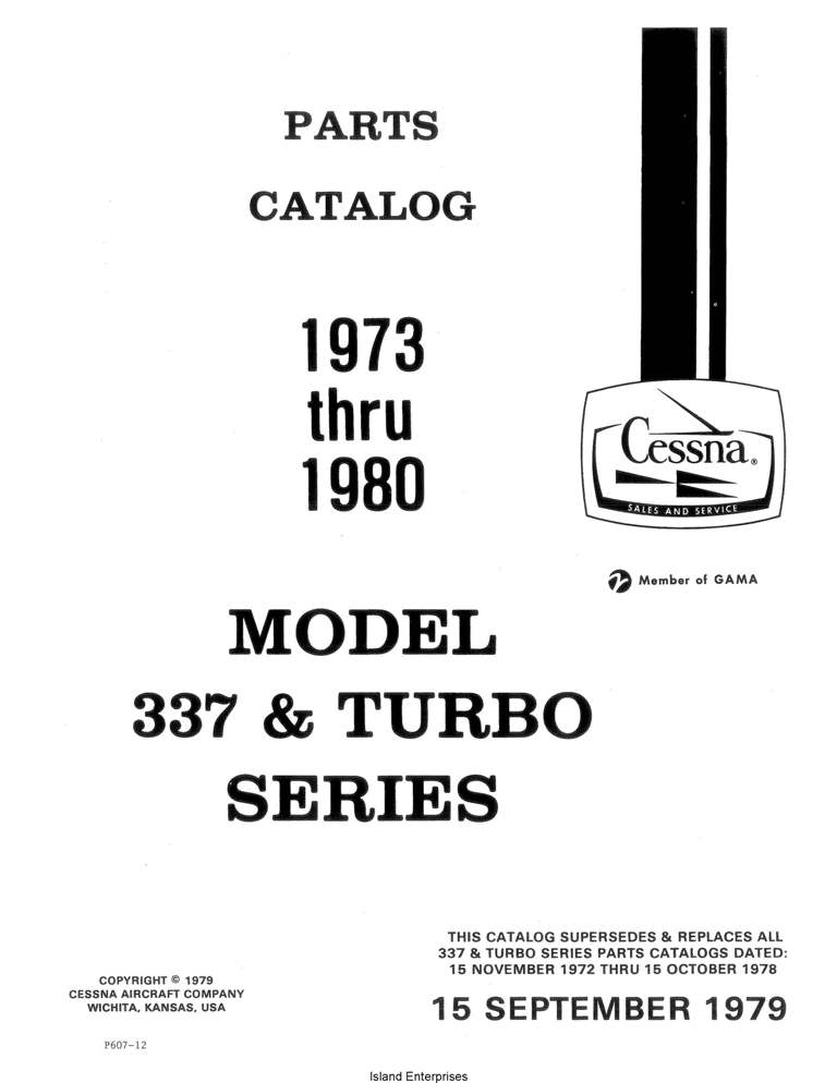 Cessna Model 337 & T337 Illustrated Parts Catalog P492-12