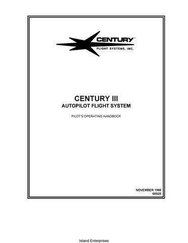 Century III 68S25 Autopilot Flight System Pilot's