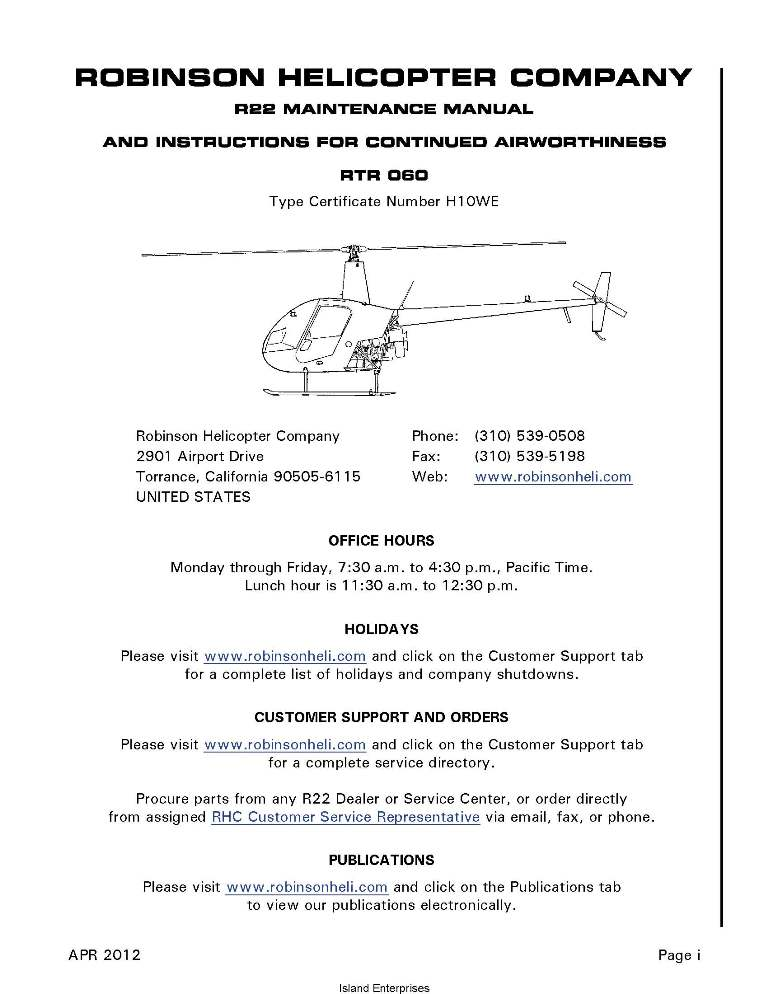 R66 maint. Manual robinson helicopter company.