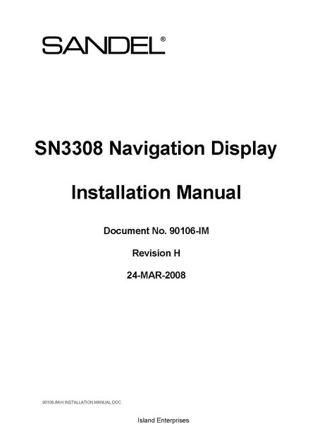 Sandel SN3308 Navigation Display Installation Manual 2008