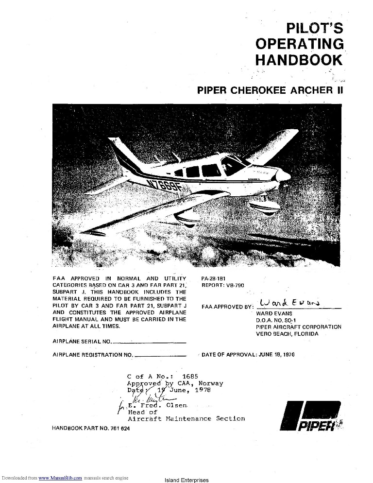 Piper Cherokee Archer II PA-28-181 Pilot's Operating