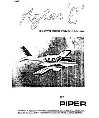 Piper Aztec C PA-23-250 Owner's Handbook Manual 1966 753