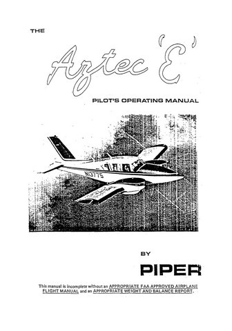 "Piper Aztec ""E"" PA-23 Pilot's Operating Manual"