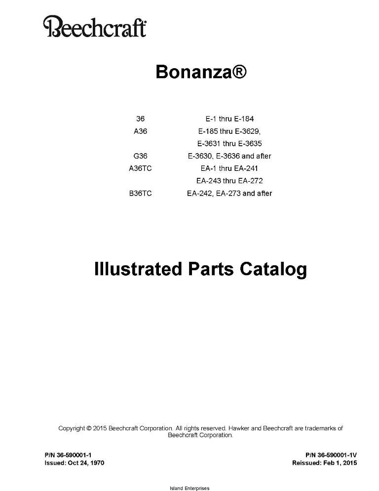 Beechcraft Bonanza 36 Series Parts Catalog 36-590001-1V