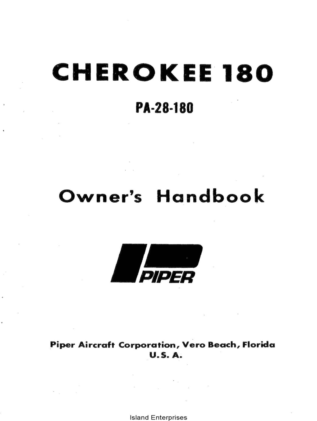 Piper Cherokee 180 PA-28-180 Owner's Handbook 761-513