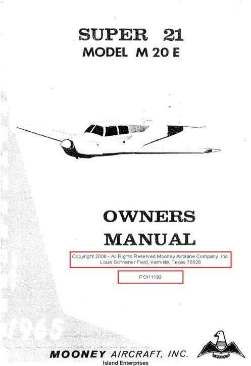Mooney Super 21 Model M20E Owner's Manual PDF