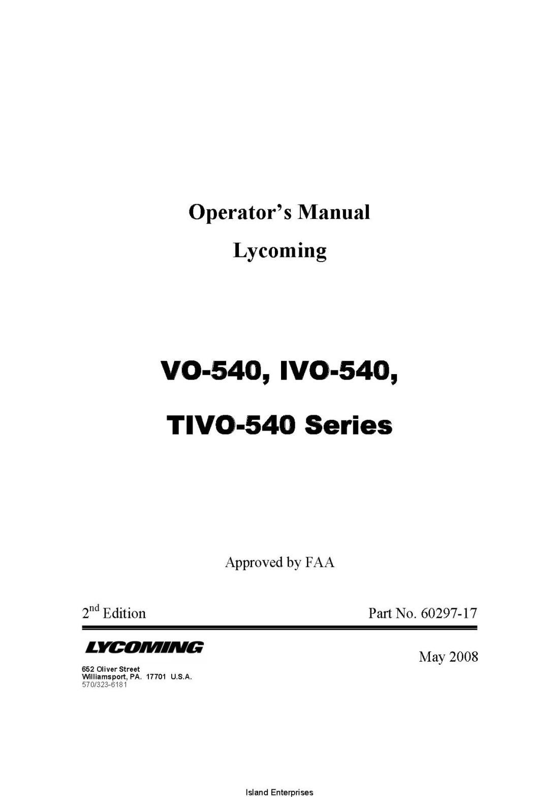 Lycoming VO-540, IVO-540, TIVO-540 Series Operator's