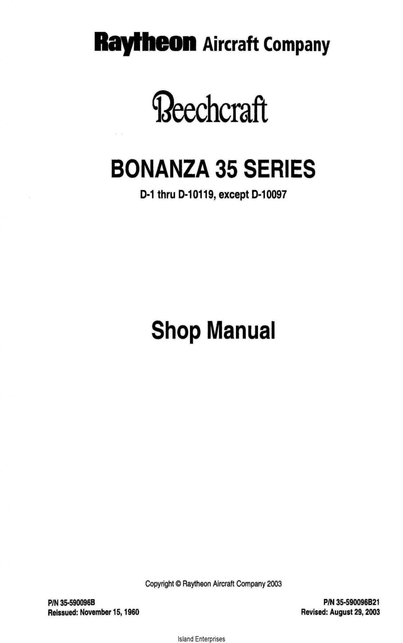 Beechcraft Bonanza 35 Series D-1 thru D-10119, except D