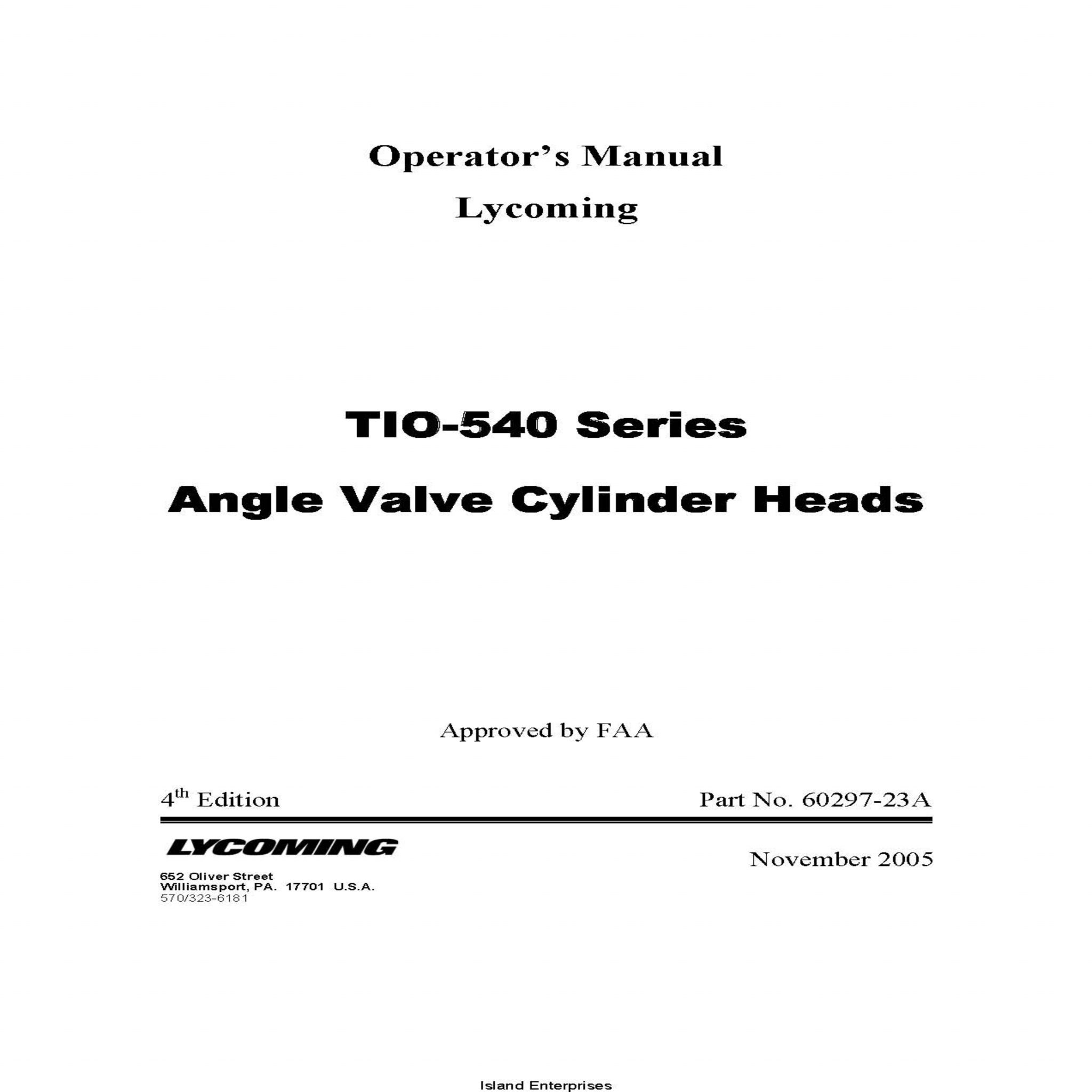 Lycoming Opeator's Manual TIO-540 Series Angel Valve