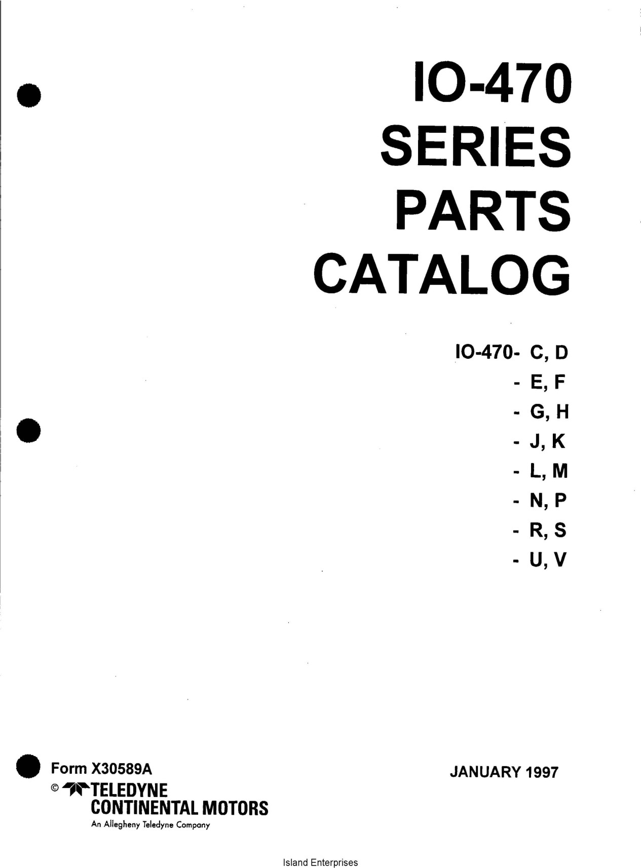 Continental IO-470 Series Parts Catalog X30589A