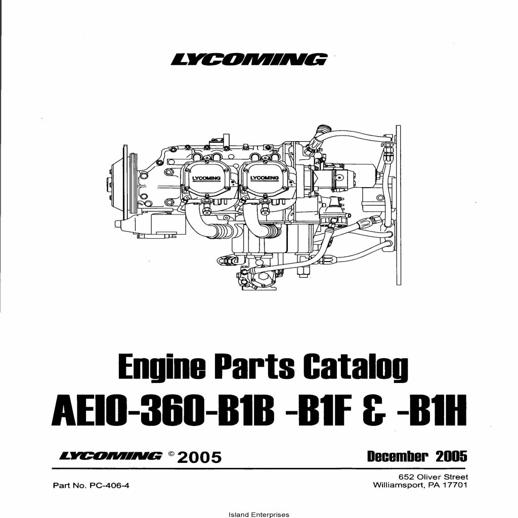 Lycoming Engine Parts Catalog AEIO-360-B1B-B1F & B1H PC