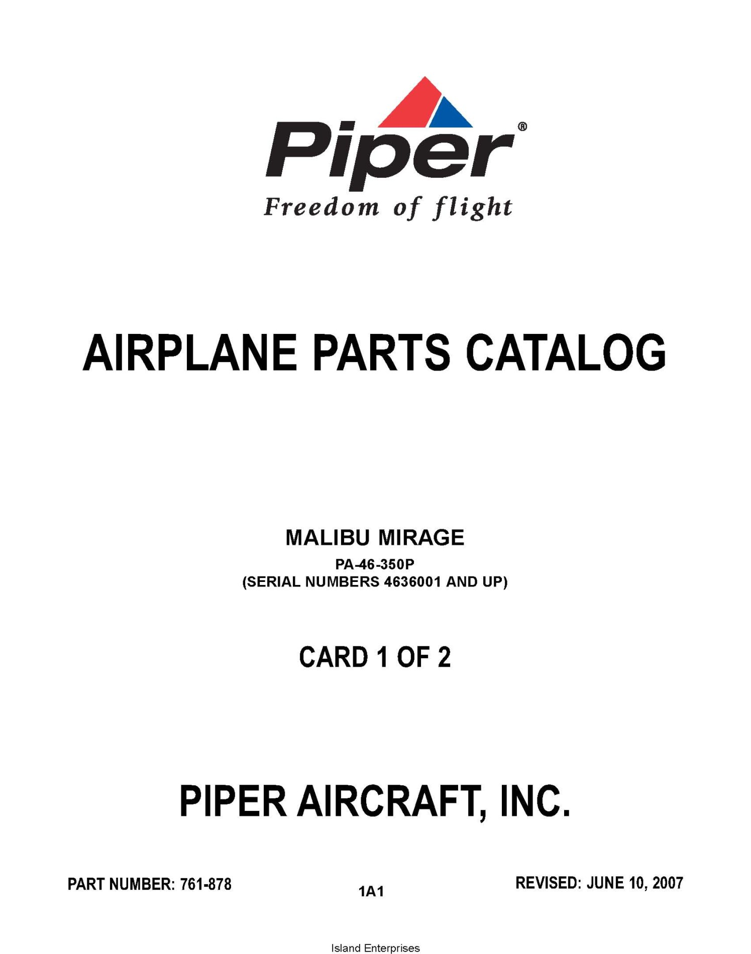 Piper Malibu Mirage PA-46-350P (Serial Numbers 4636001 and