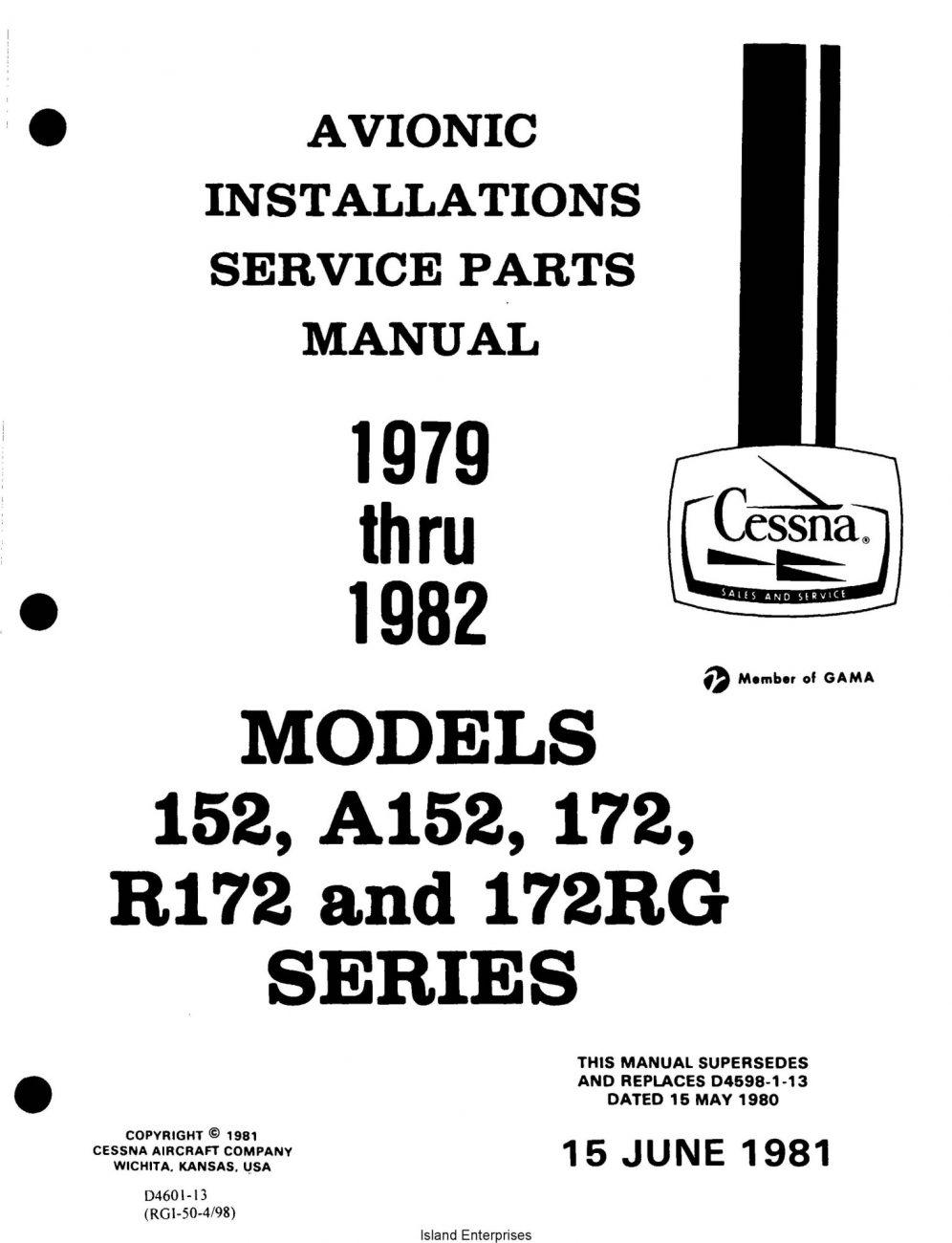Cessna Model 152, A152, 172, R172, 172RG Service/Parts