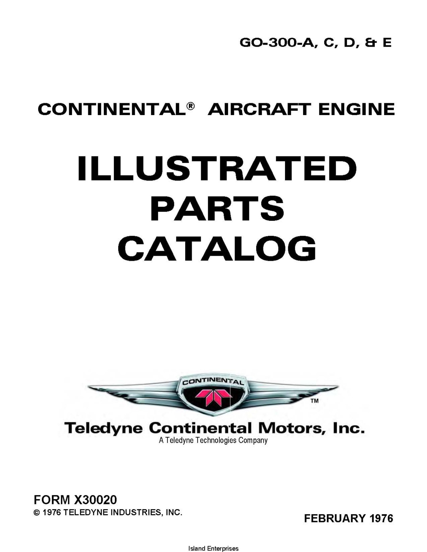 Continental GO-300-A, C, D, & E Series Aircraft Engines