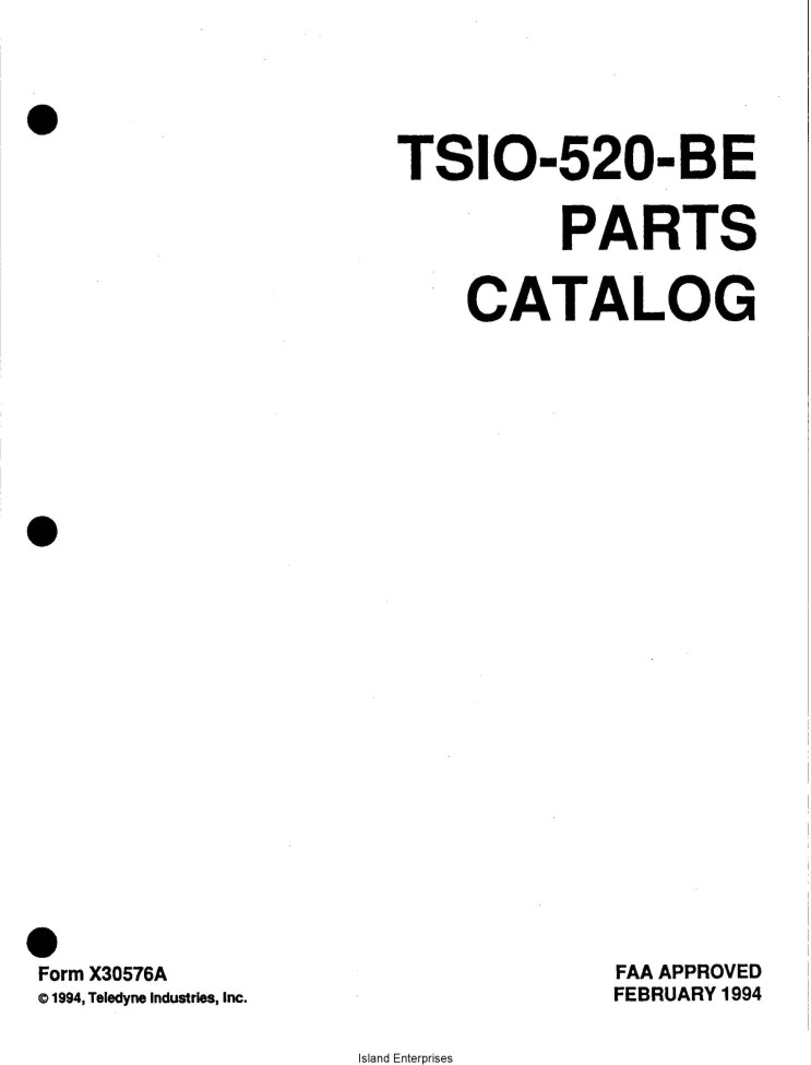 Continental TSIO-520-BE Parts Catalog X30576A
