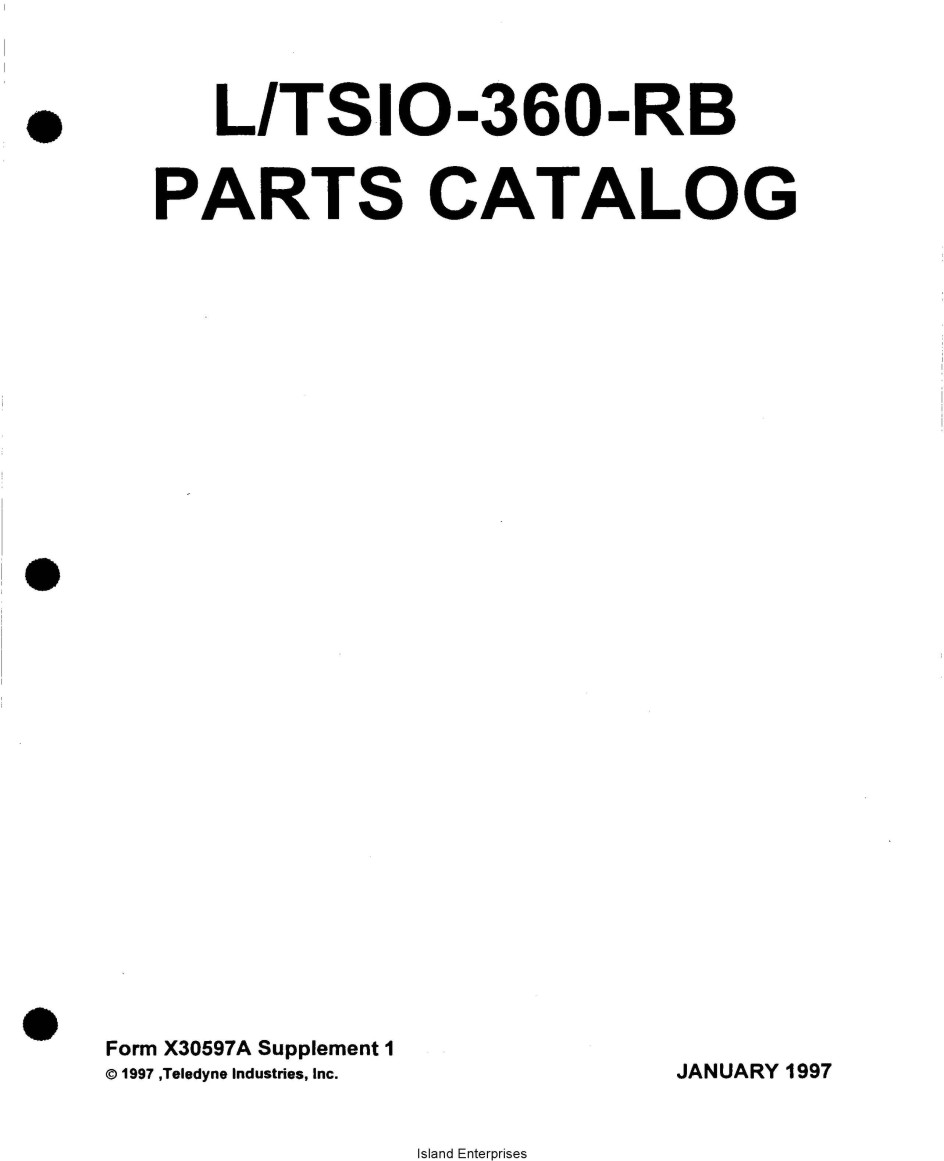 Continental L-TSIO-360-RB Parts Catalog X30597A