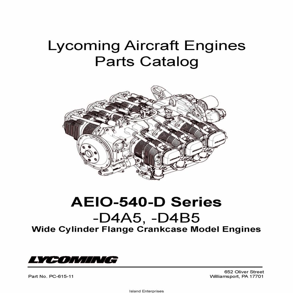 Lycoming Parts Catalog AEIO-540-D Series PC-615-11 v2001