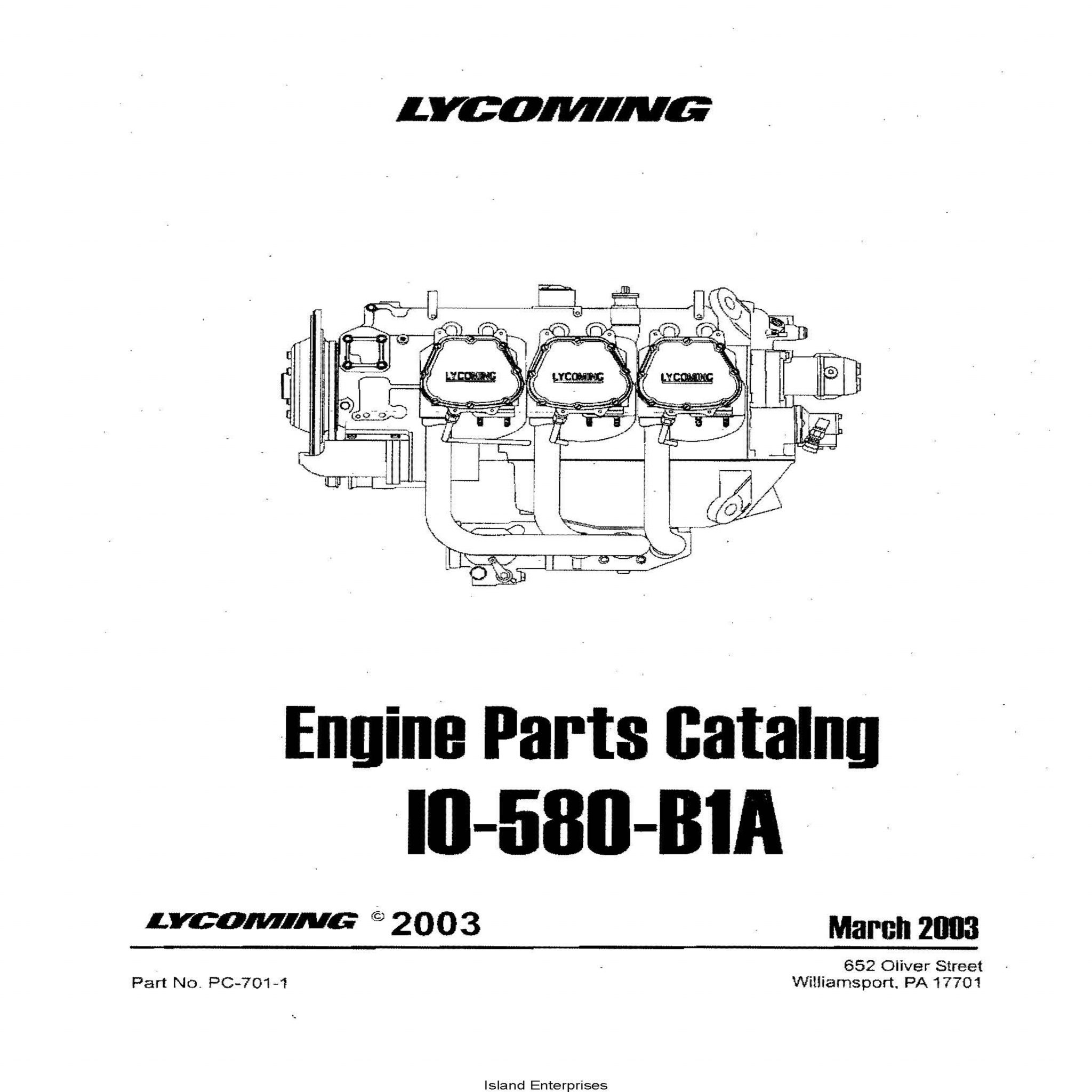 Lycoming Parts Catalog IO-580-B1A Part # PC-701-1