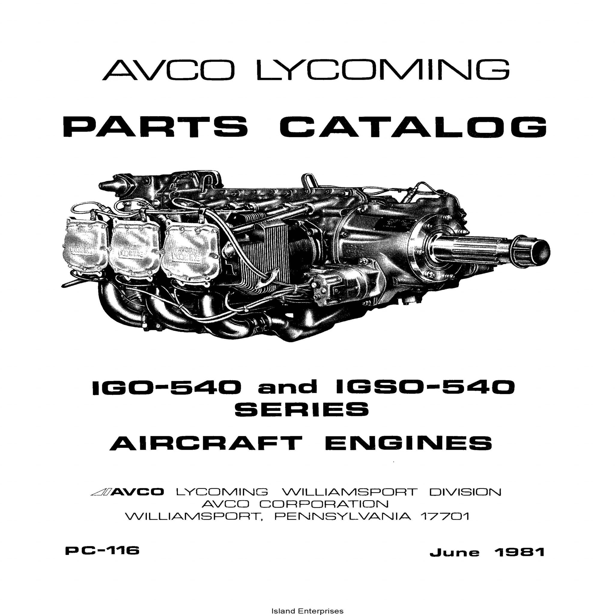 Lycoming Parts Catalog PC-116 IGO-540 & IGSO-540 1981