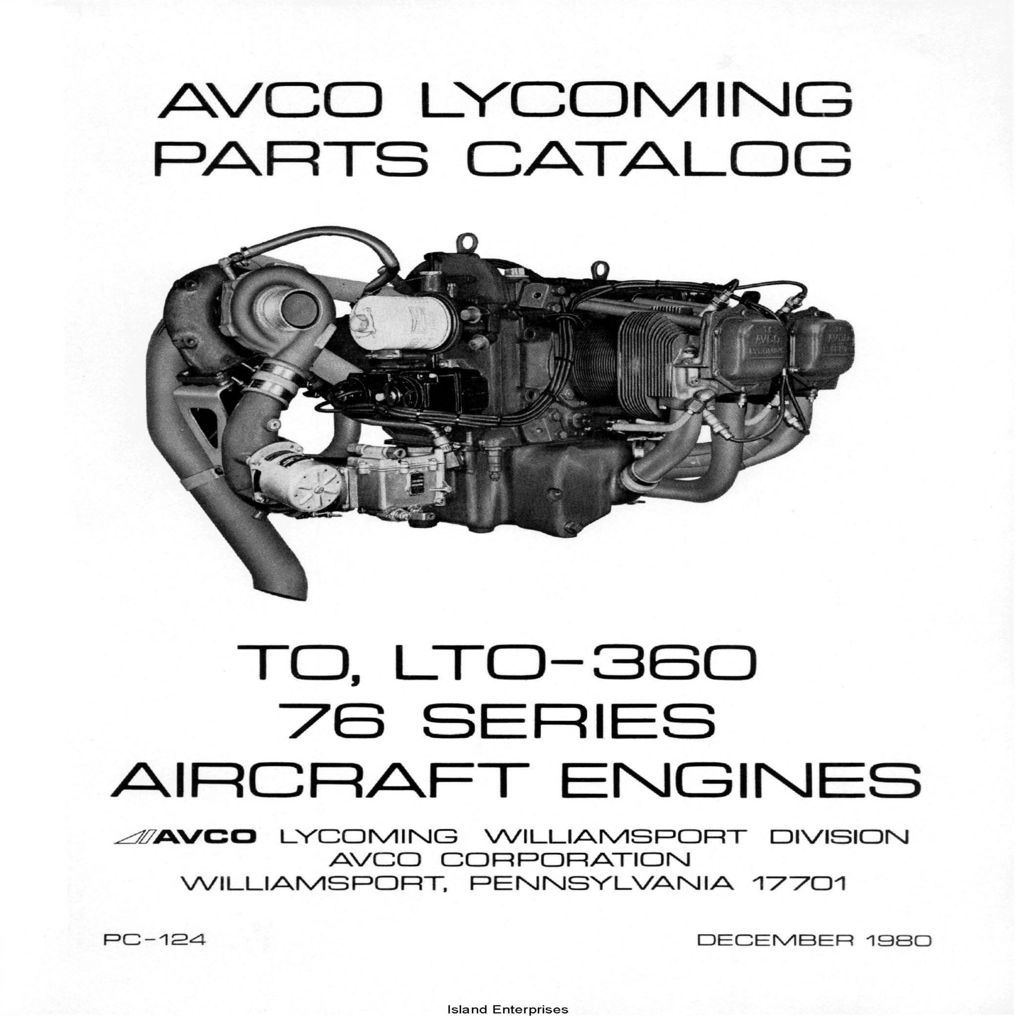 Lycoming Parts Catalog TO, LTO-360 76 Series Part # PC-124