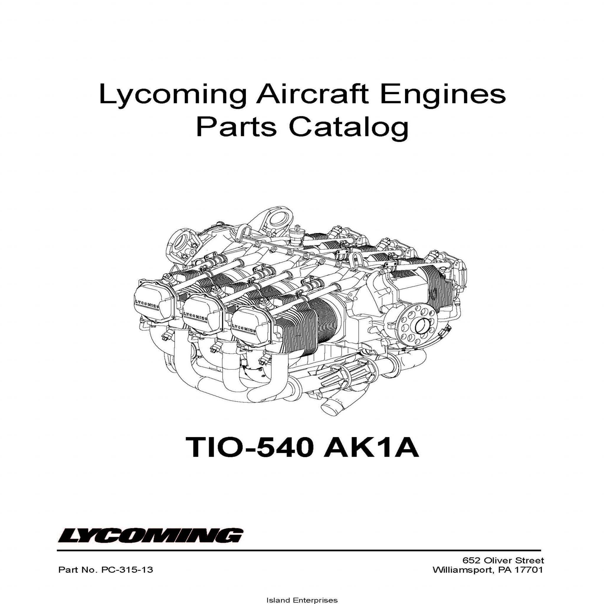 Lycoming Parts Catalog TIO-540 AK1A Part # PC-315-13 v2001