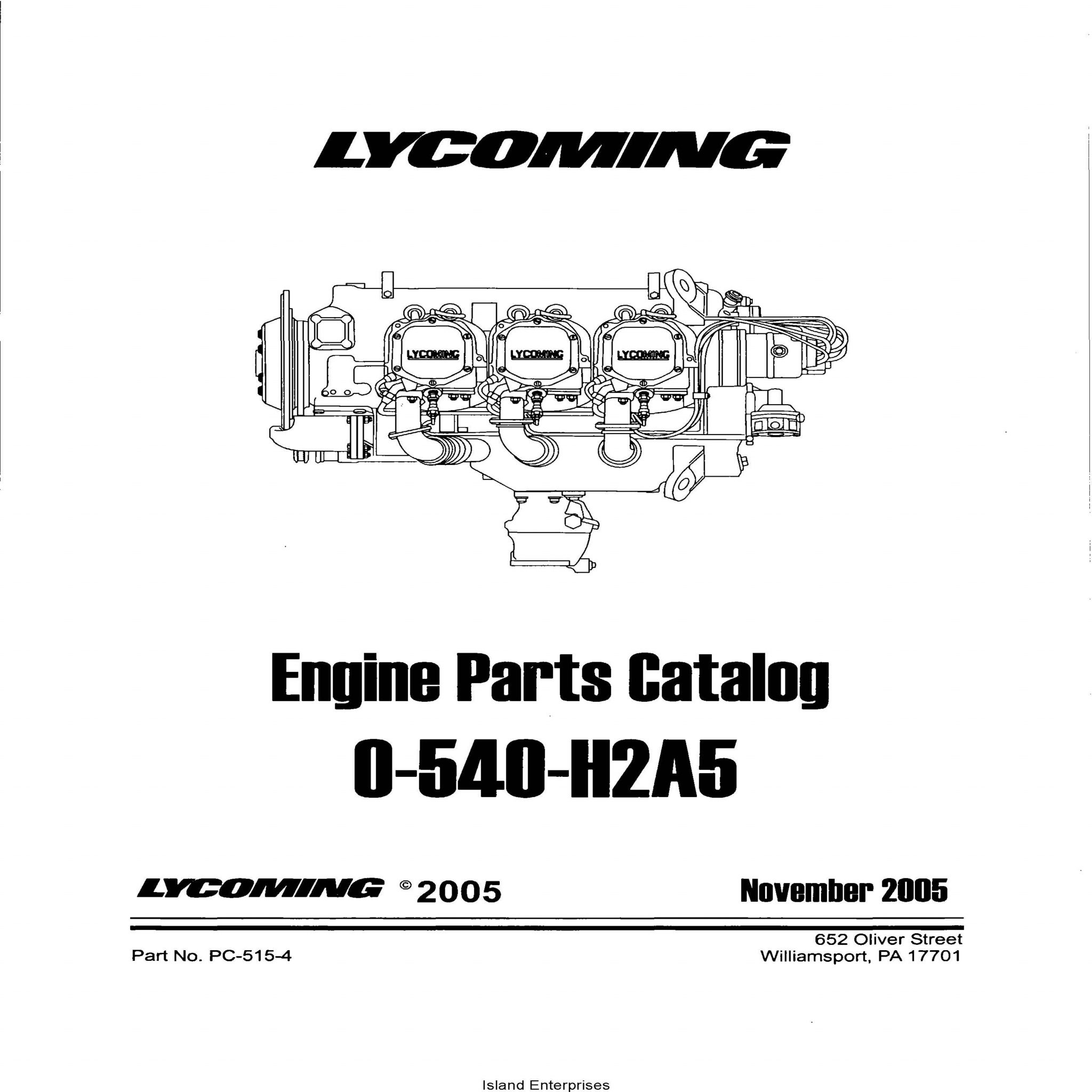 Lycoming O-540-H2A5 Parts Catalog Part # PC-515-4 v2005