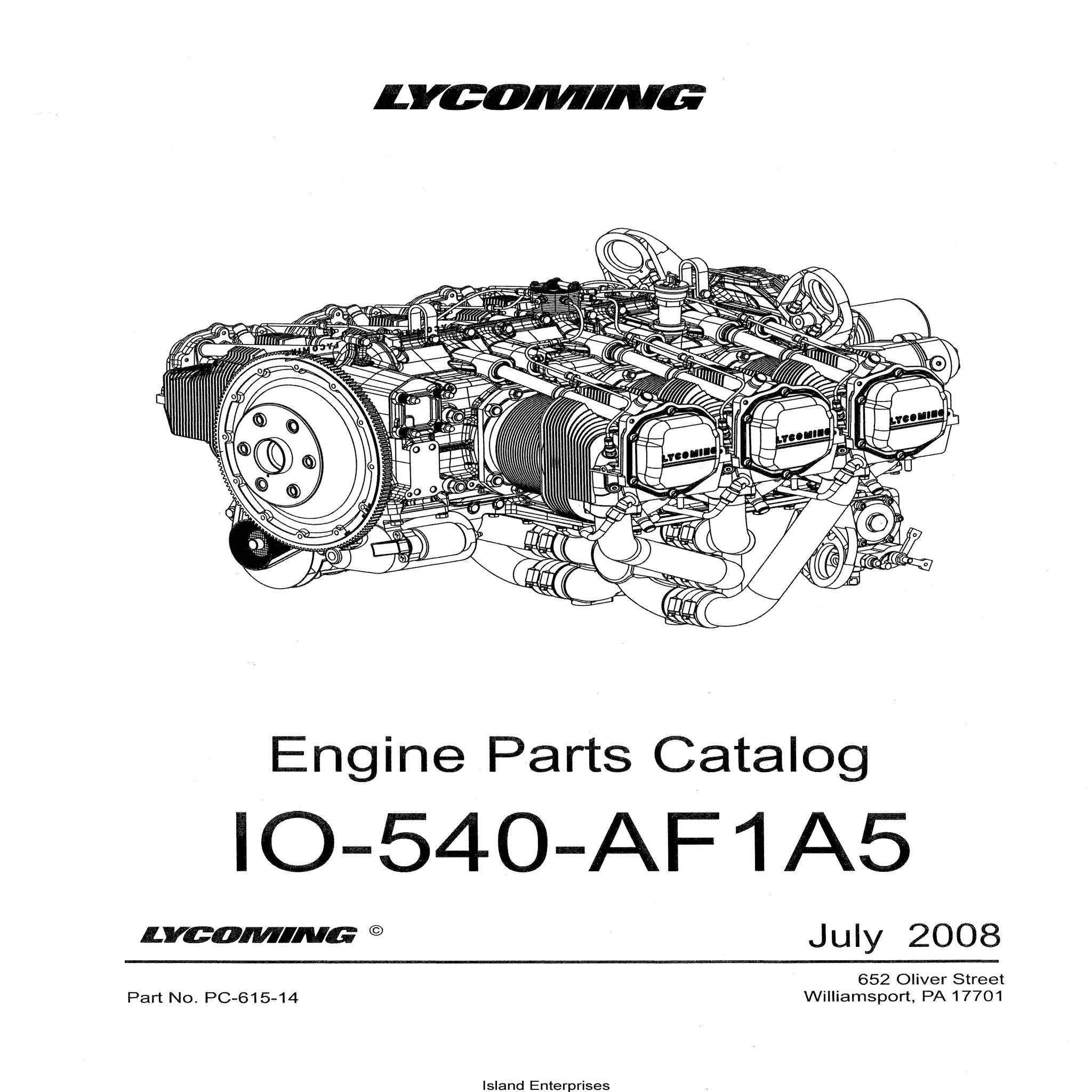Lycoming Parts Catalog PC-615-14 IO-540-AF1A5