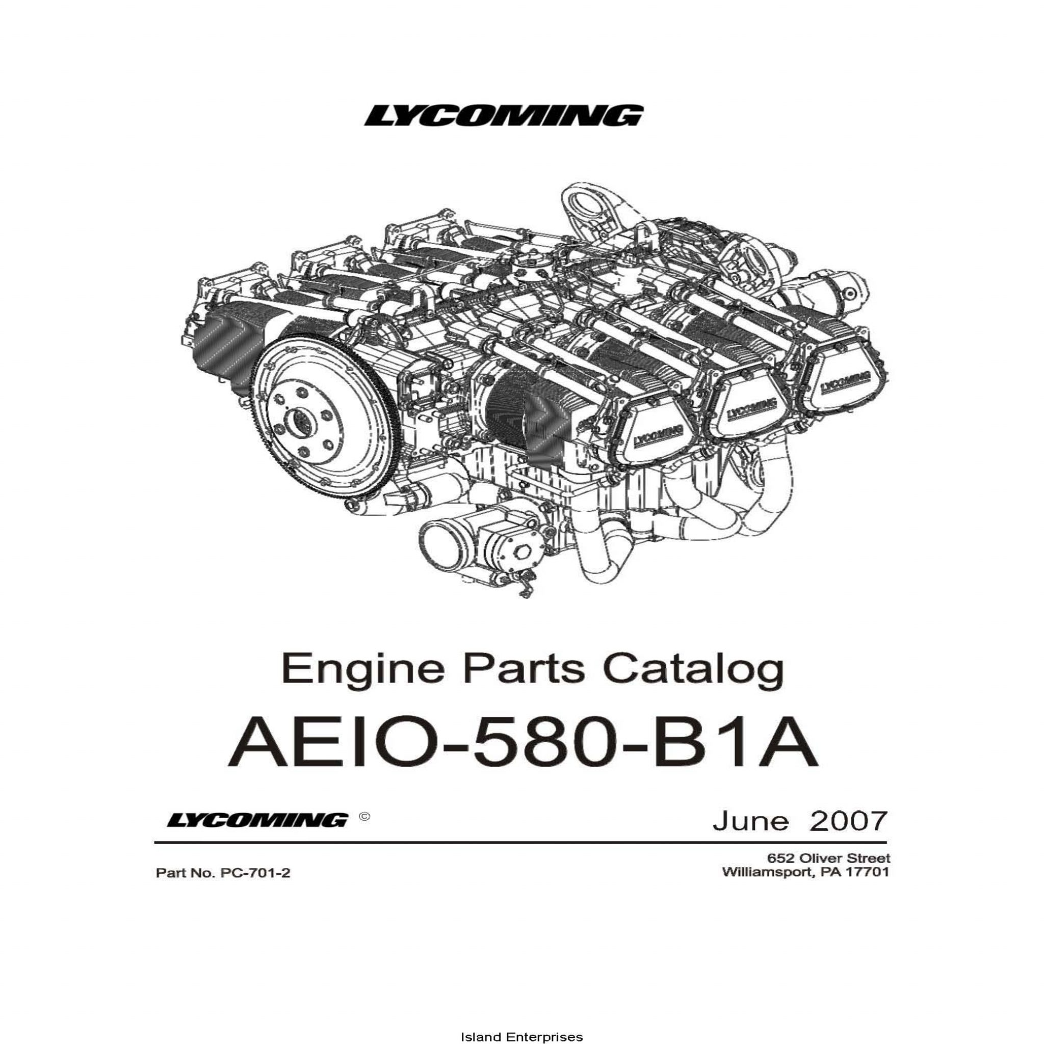 Lycoming Parts Catalog AEIO-580-B1A Part # PC-701-2