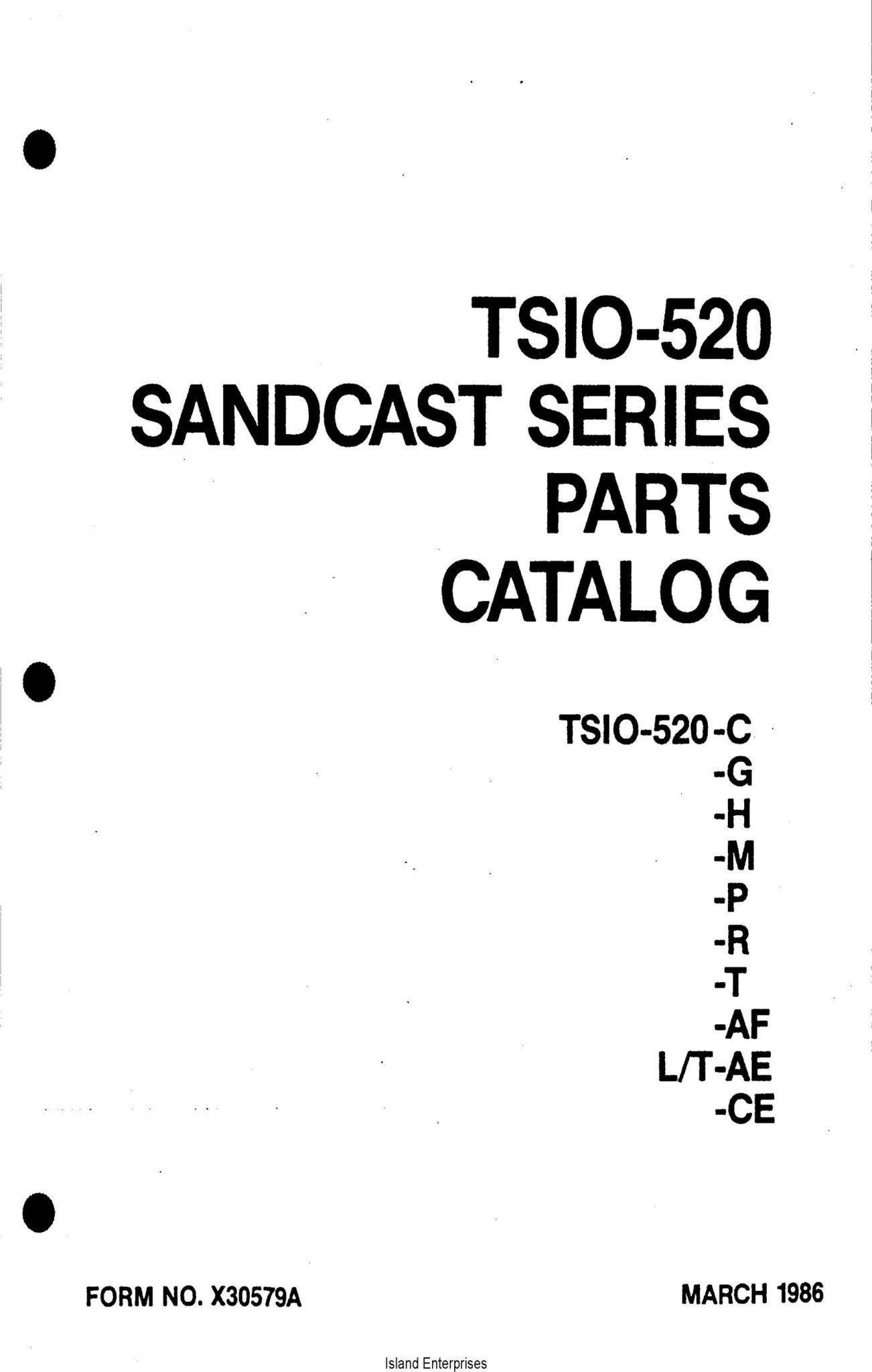 Continental Model TS10-520 C,G,H,M,P,R,T,AF,L/T,AE,CE