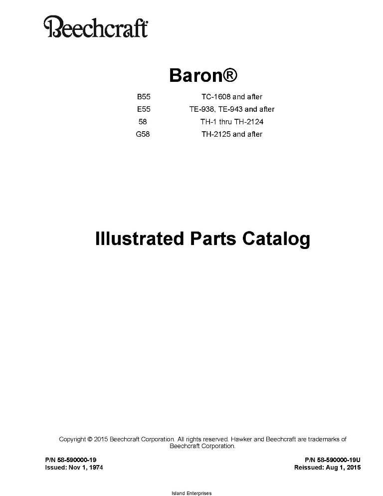 Beechcraft Baron B55, E55, 58, G58 Parts Catalog 58-590000