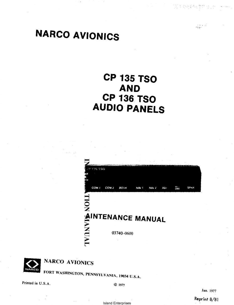Narco Avionics CP 135 TSO and CP 136 TSO Audio Panels