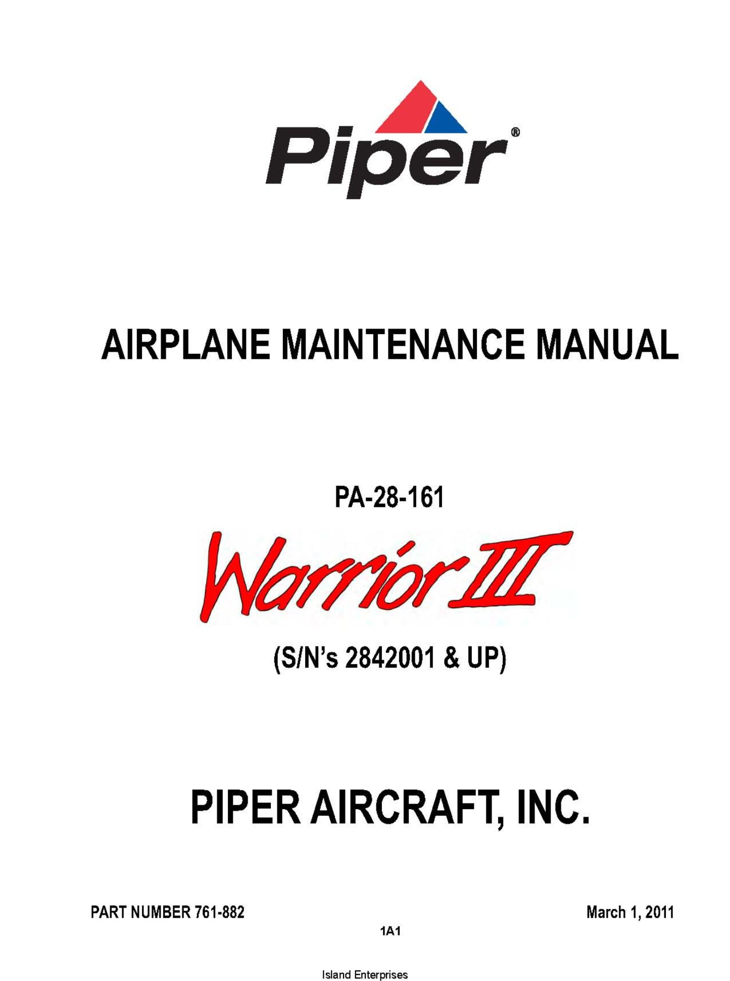 Piper PA-28-161 Warrior III (S/N's 2842001 & UP