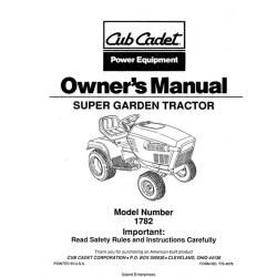 Cub Cadet 1782 Super Garden Tractor Owner's Manual