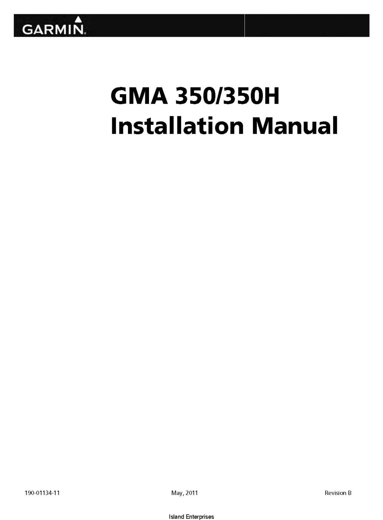 Garmin GMA 350/350H Installation Manual 190-01134-11
