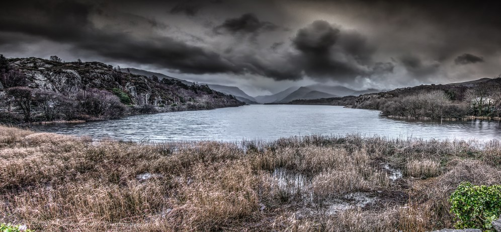 Muted panorama of Llyn Padarn; took me ages to get this to my liking.
