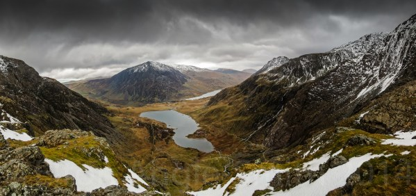 Cwm Idwal Panorama From The High Cliffs Of The Devil's Kitchen, 700 Metres Above Sea Level