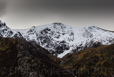 Y Garn's Cornices And 'Banana Gully' To The Right Of The Peak