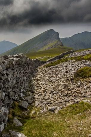 The view to Mynydd Drws y Coed and Trum y Ddysgyl from the stile onto Y Garn's summit.