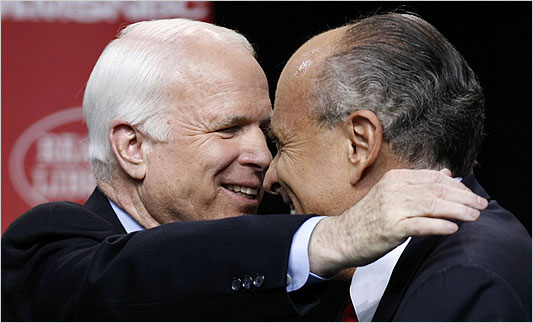 McCain and Rudy sittin in a tree