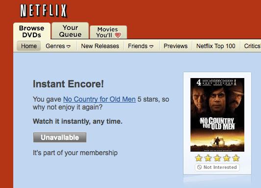 Netflix user interface fail.