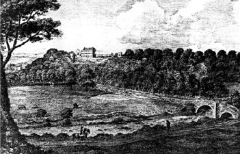 A drawing of James Bird's Hillhouse (Brougham Hall) by L Benson in 1794, in the forground you will see the route of the old road