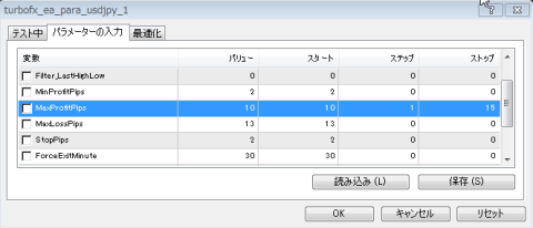TURBO FXのパラメータ