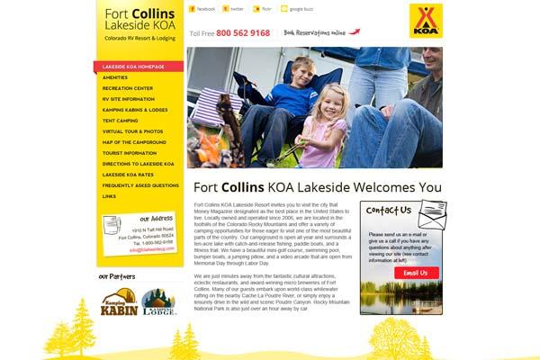 Fort Collins Lakeside KOA - website design