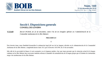 Portada del Decret 49/2018, de 21 de desembre, sobre l'ús de les llengües oficials en l'Administració de la Comunitat Autònoma de les Illes Balears al BOIB